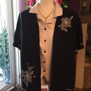 Alfred Dunner Black Jacket w/attached white blouse